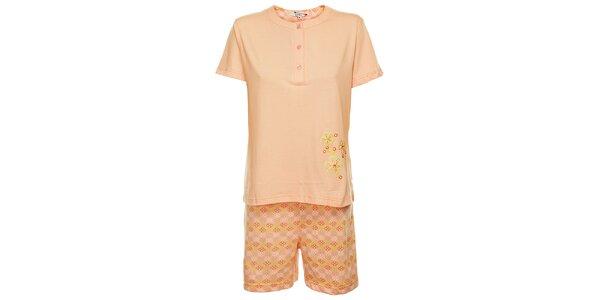 Dámské růžové pyžamo Isma s kytičkami - šortky a tričko