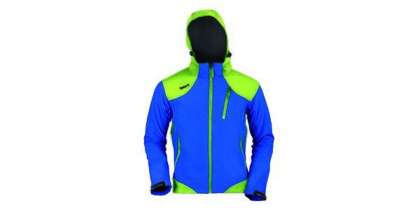 Pánská modro-zelená softshellová bunda Izas