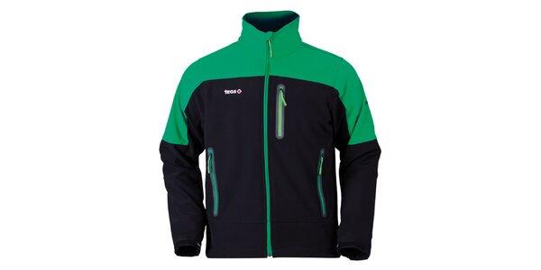 Pánská zeleno-černá bunda na zip Izas