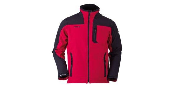Pánská červeno-černá softshellová bunda Izas
