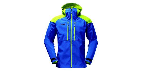 Pánská modrá softshellová bunda se zelenými prvky Izas