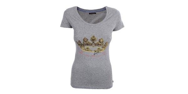 Dámské šedé tričko s korunou Phard