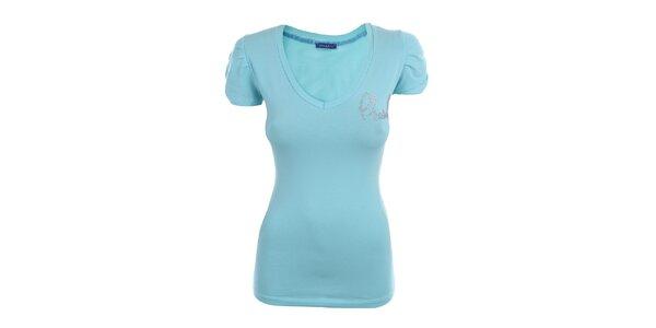 Dámské světle modré tričko s dekorací Phard
