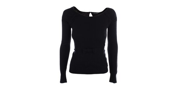 Dámské černé triko s mašličkou v pase Phard