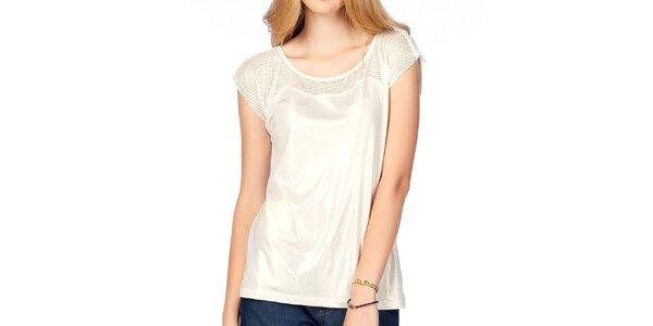 Dámský lesklý bílý top s transparentními rameny Jimmy Key