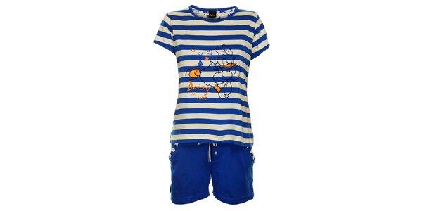 Dámské modré proužkované pyžamo Disney - šortky a tričko