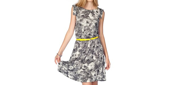 Dámské šedé květinové šaty s neonovým páskem Jimmy Key