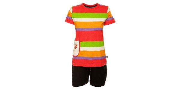 Dámské barevné proužkované pyžamo Marie Claire - šortky a tričko