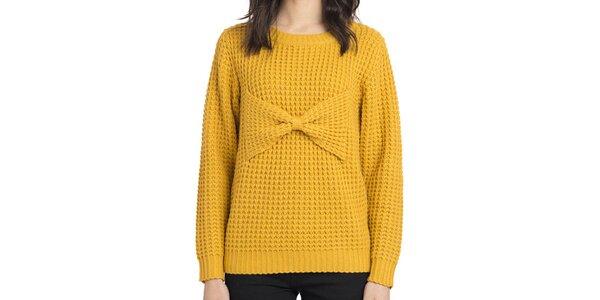 Dámský pletený hořčicový svetr s mašlí Compania Fantastica
