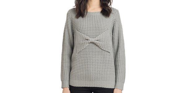 Dámský pletený šedý svetr s mašlí Compania Fantastica