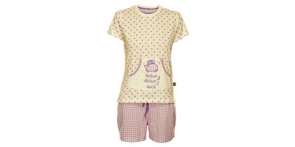 Dámské bílo-fialové pyžamo Marie Claire - šortky a tričko