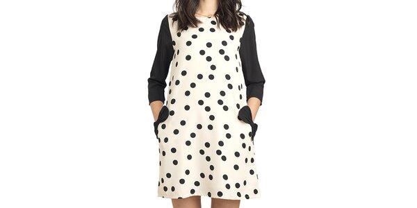 Dámské krémovo-černé šaty s puntíky Compania Fantastica
