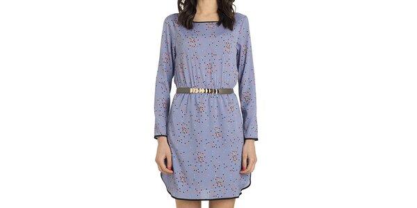 Dámské fialové šaty s barevným vzorem Compania Fantastica