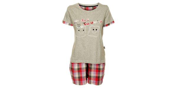 Dámské šedé pyžamo Marie Claire - šortky a tričko
