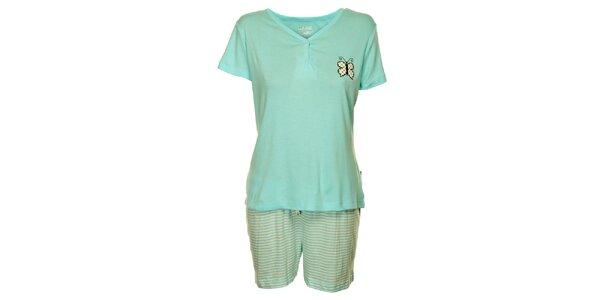 Dámské světle modré pyžamo Marie Claire s potiskem - šortky a tričko