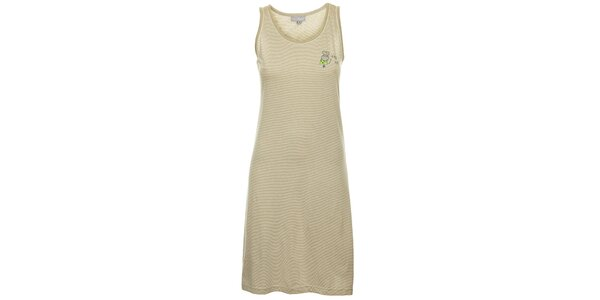 Dámská světle šedá noční proužkovaná košile Cocodream