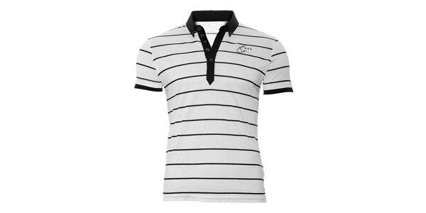 Bílé pánské polo tričko Energie s černými proužky
