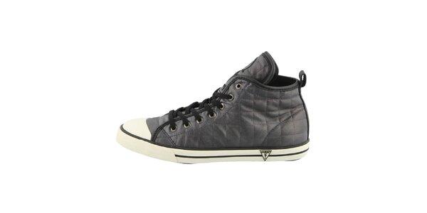 Dámské černé prošívané kotníkové boty Guess