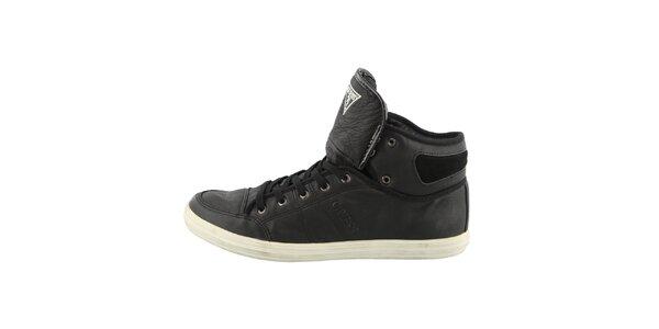 Pánské černé kotníkové boty s prošíváním Guess
