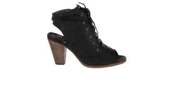 Dámské černé kotníkové boty Hudson s vykrojenou špičkou a patou