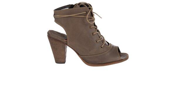 Dámské hnědé kotníkové boty Hudson s vykrojenou špičkou a patou