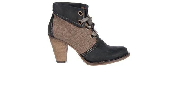 Dámské černo-hnědé kotníkové boty Hudson