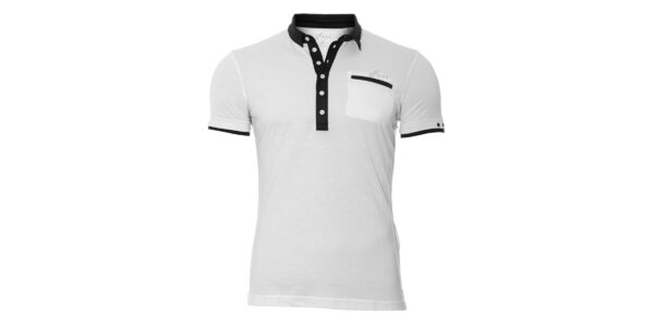 Bílé pánské polo tričko Energie s černými lemy