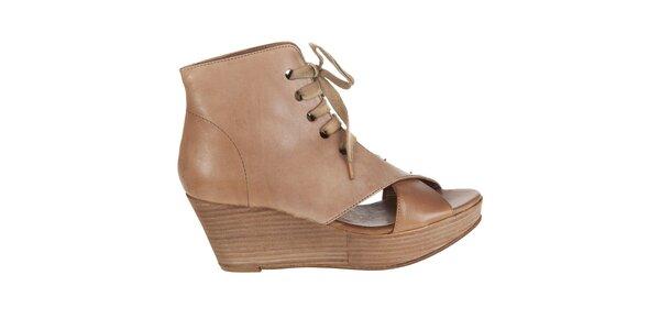 Dámské světle hnědé kotníkové boty Hudson s otevřenou špičkou