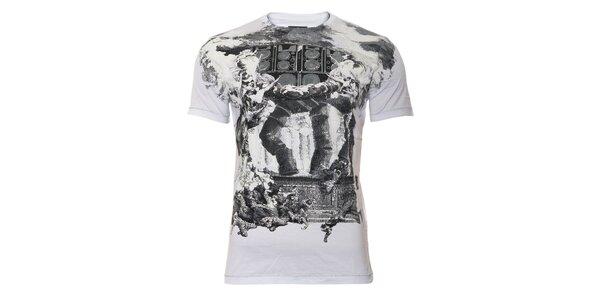 Bílé pánské triko Energie s rockovým potiskem