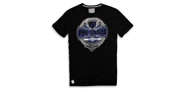Pánské černé bavlněné tričko s potiskem Paul Stragas