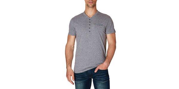 Pánské černo-bíle melírované tričko s krátkým rukávem Paul Stragas