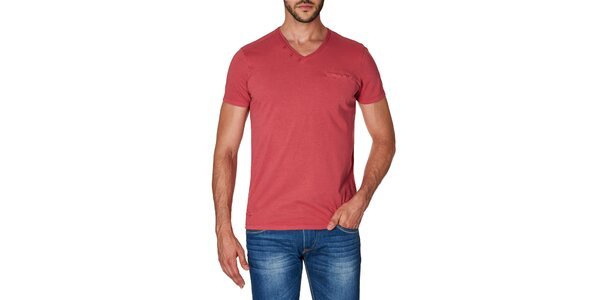 Pánské červené tričko s véčkovým výstřihem Paul Stragas