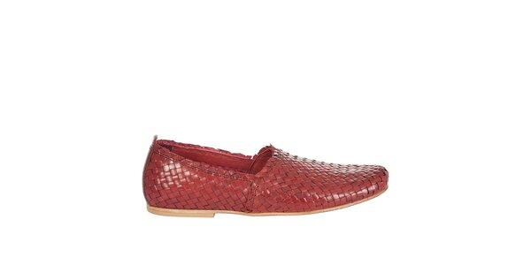 Pánské červené kožené mokasíny Hudson