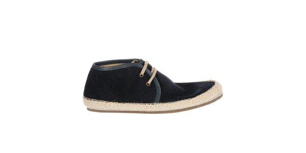 Pánské tmavě modré semišové boty Hudson s jutovým lemem
