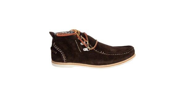 Pánské tmavě hnědé semišové boty Hudson