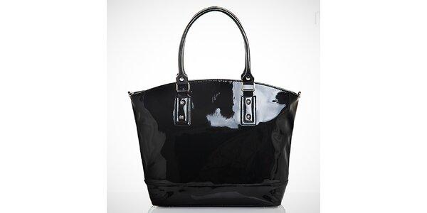 Dámská lakovaná černá kabelka s vnější kapsičkou Felice