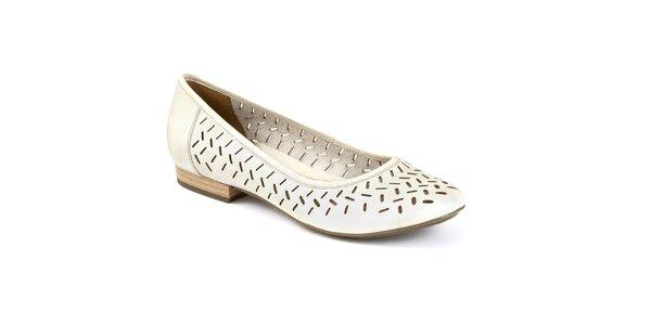 Dámské krémové boty s perforací Clarks