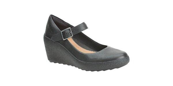 Dámské černé boty na klínku Clarks