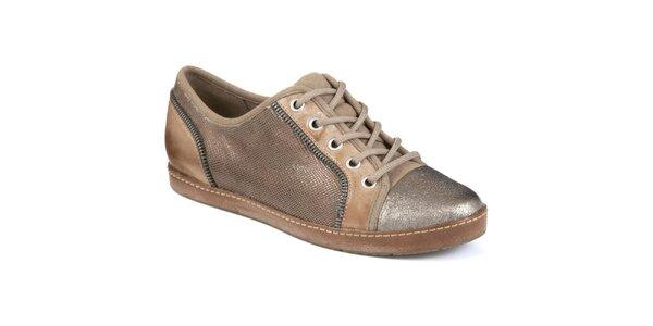 Dámské hnědobéžové boty s metalickou špičkou Clarks