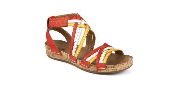 Dámské kožené sandály s barevnými pásky Clarks