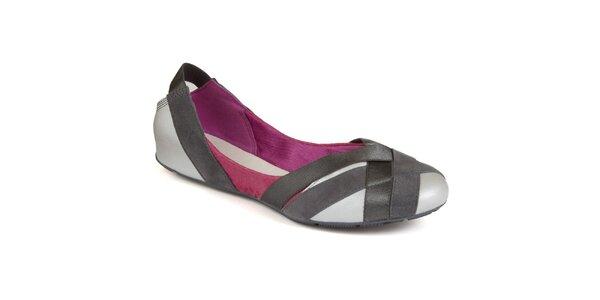 Dámské stříbro-šedo-fialové balerínky Clarks
