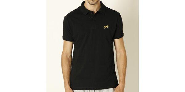 Pánské černé polo tričko se žlutým logem Chaser