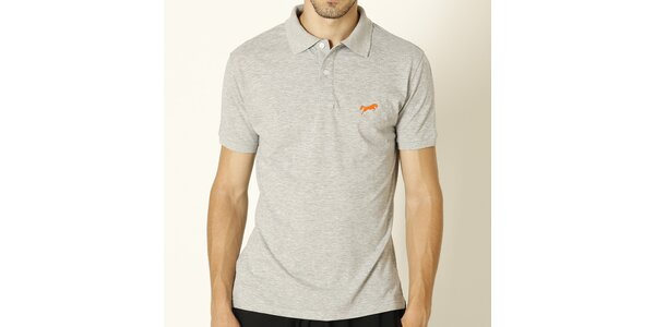 Pánské světle šedé polo tričko s oranžovým logem Chaser