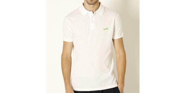 Pánské bílé polo tričko se zeleným logem značky Chaser