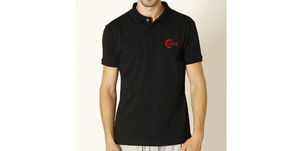 Pánské černé polo tričko s červenou výšivkou Chaser