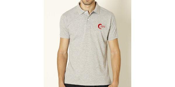 Pánské světle šedé polo tričko s červenou výšivkou Chaser