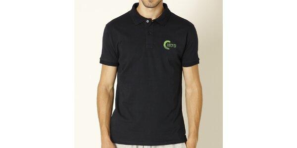 Pánské tmavě modré polo tričko se zelenou výšivkou Chaser