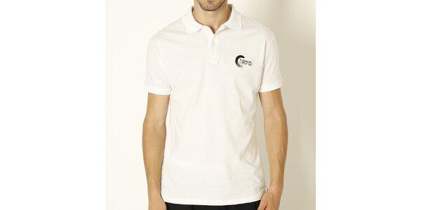 Pánské bílé polo tričko s černou výšivkou Chaser