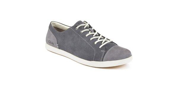 Pánské šedé šněrovací boty s koženou tkaničkou Clarks