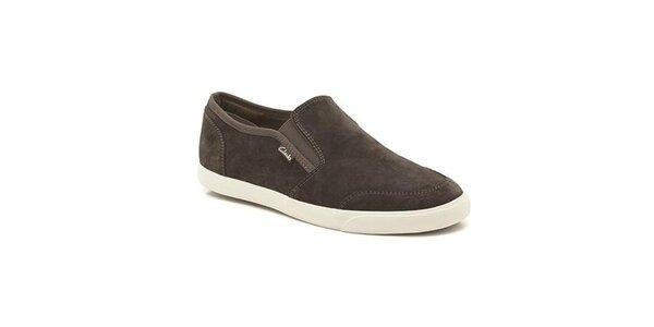 Pánské tmavě hnědé semišové boty Clarks